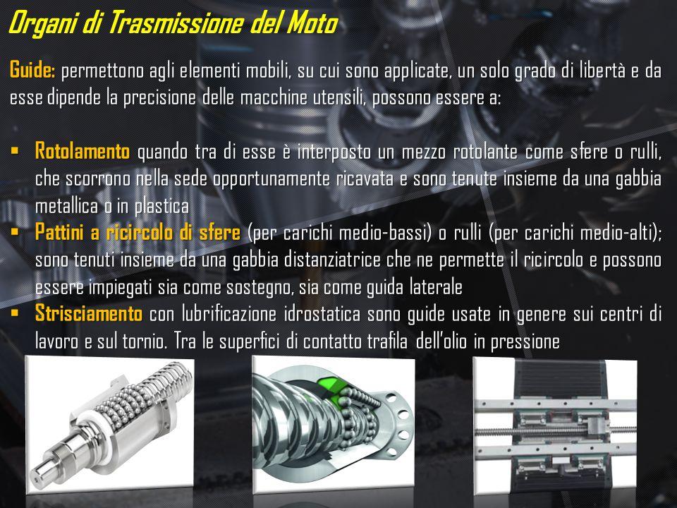 Organi di Trasmissione del Moto Guide: permettono agli elementi mobili, su cui sono applicate, un solo grado di libertà e da esse dipende la precision