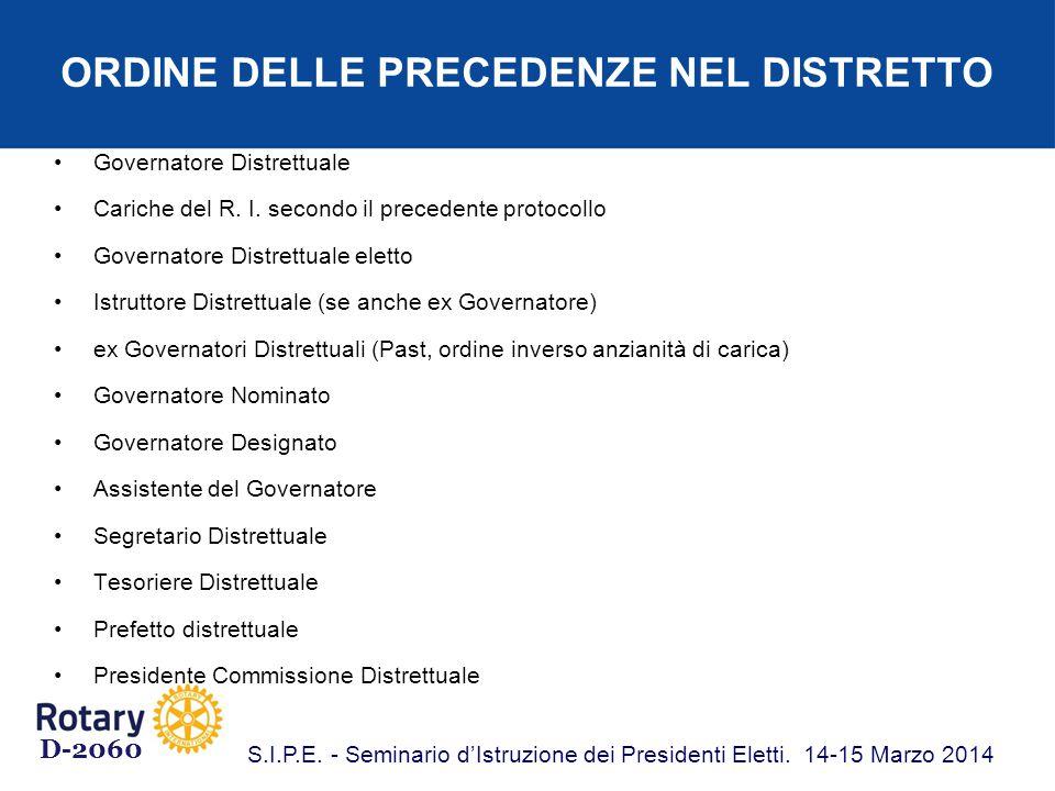 ORDINE DELLE PRECEDENZE NEL DISTRETTO Governatore Distrettuale Cariche del R.