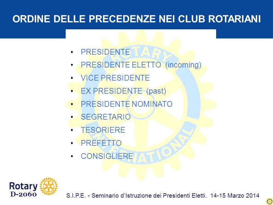 ORDINE DELLE PRECEDENZE NEI CLUB ROTARIANI PRESIDENTE PRESIDENTE ELETTO (incoming) VICE PRESIDENTE EX PRESIDENTE (past) PRESIDENTE NOMINATO SEGRETARIO TESORIERE PREFETTO CONSIGLIERE D-2060 S.I.P.E.