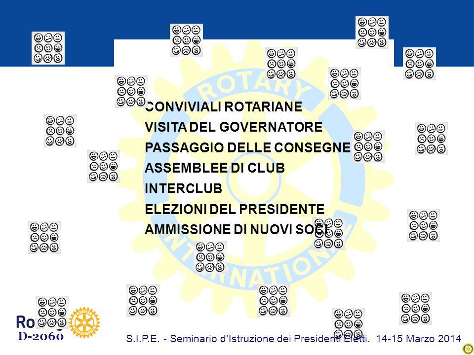 CONVIVIALI ROTARIANE VISITA DEL GOVERNATORE PASSAGGIO DELLE CONSEGNE ASSEMBLEE DI CLUB INTERCLUB ELEZIONI DEL PRESIDENTE AMMISSIONE DI NUOVI SOCI D-2060 S.I.P.E.