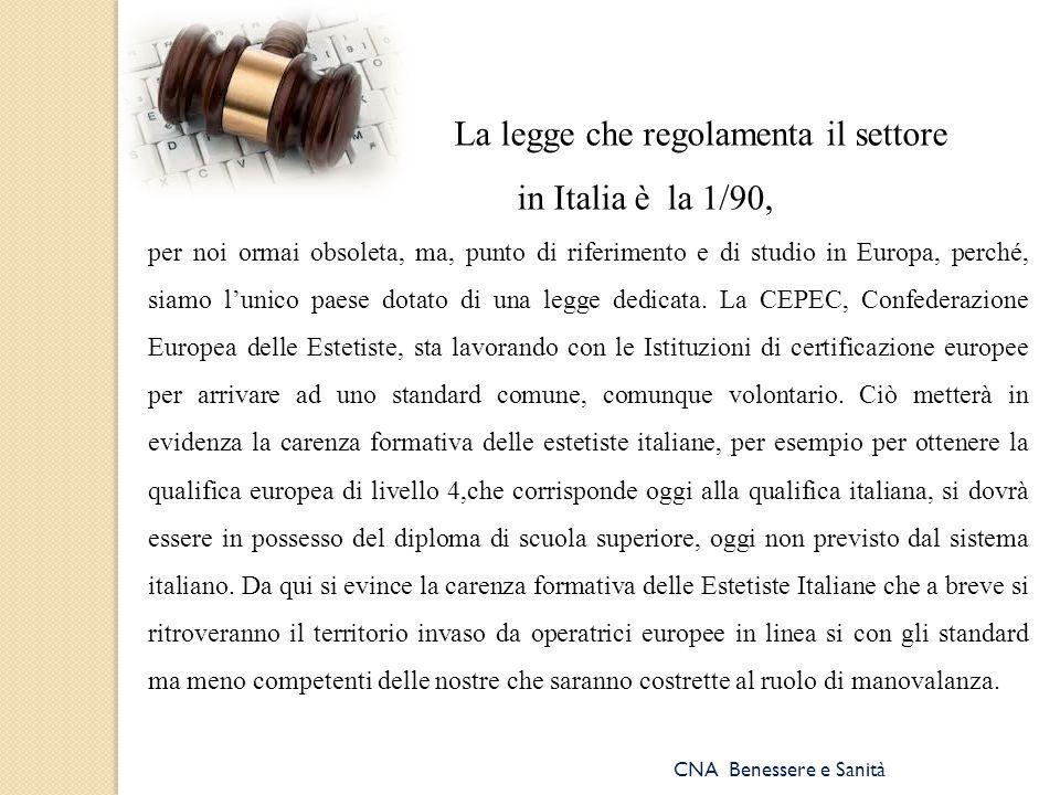 CNA Benessere e Sanità La legge che regolamenta il settore in Italia è la 1/90, per noi ormai obsoleta, ma, punto di riferimento e di studio in Europa