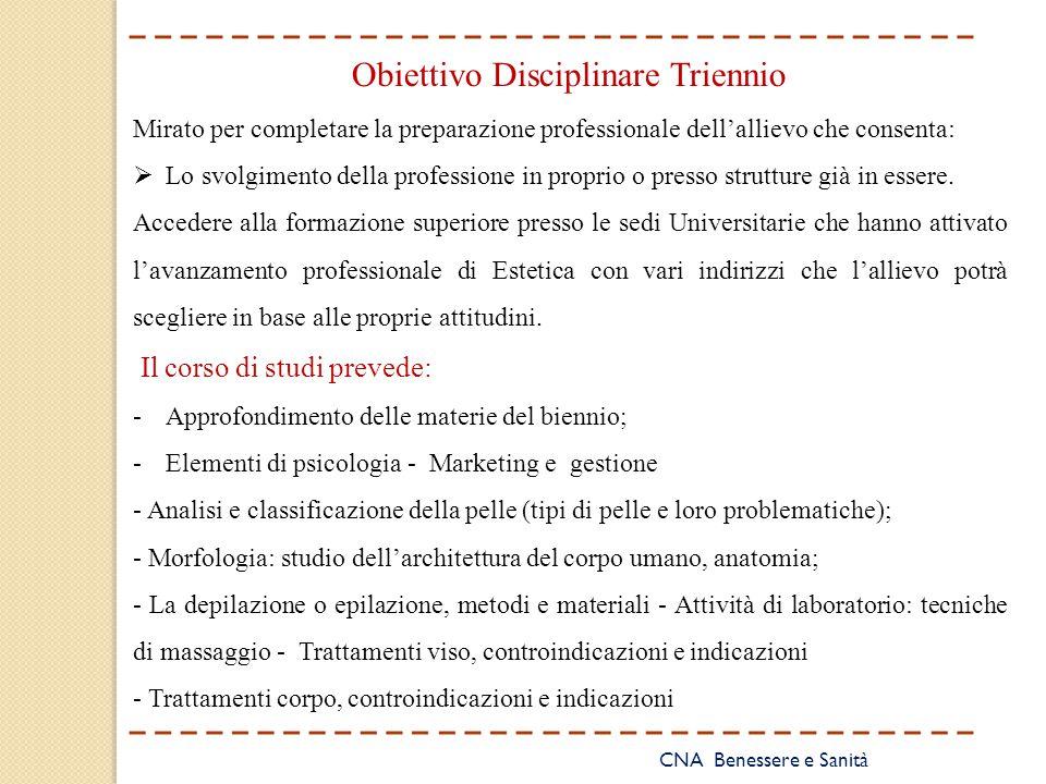 CNA Benessere e Sanità Obiettivo Disciplinare Triennio Mirato per completare la preparazione professionale dell'allievo che consenta:  Lo svolgimento
