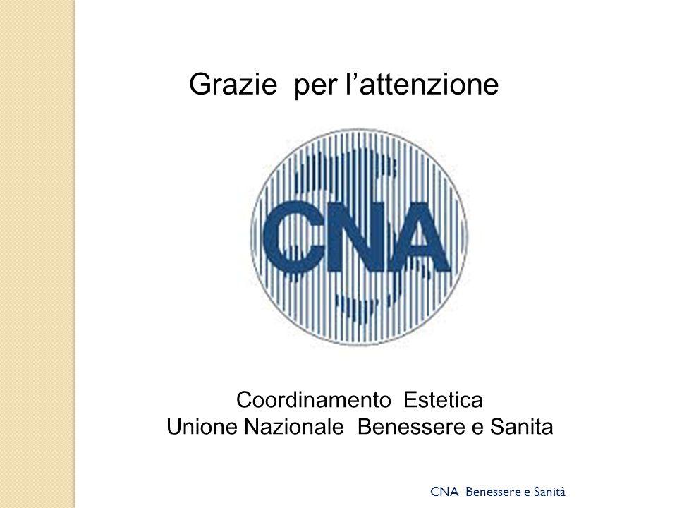CNA Benessere e Sanità Grazie per l'attenzione Coordinamento Estetica Unione Nazionale Benessere e Sanita