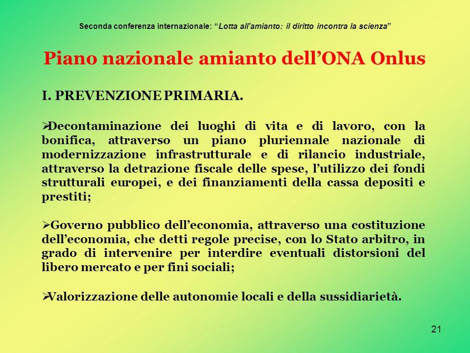 21 Piano nazionale amianto dell'ONA Onlus I. PREVENZIONE PRIMARIA.