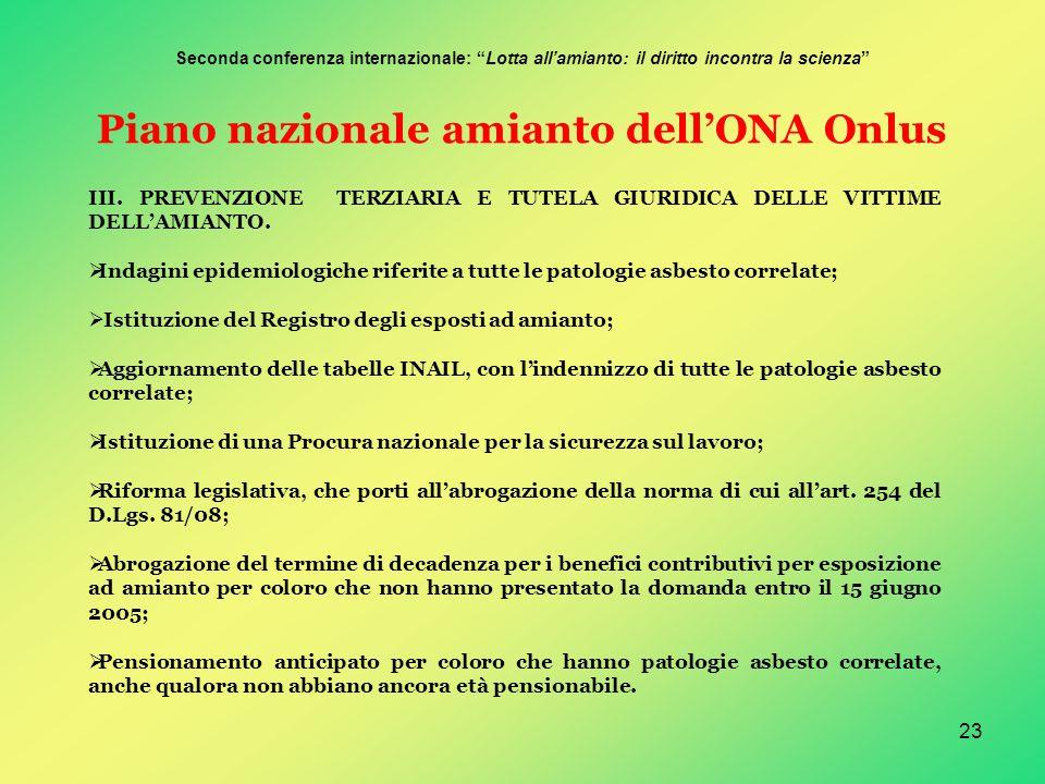 23 Piano nazionale amianto dell'ONA Onlus III.