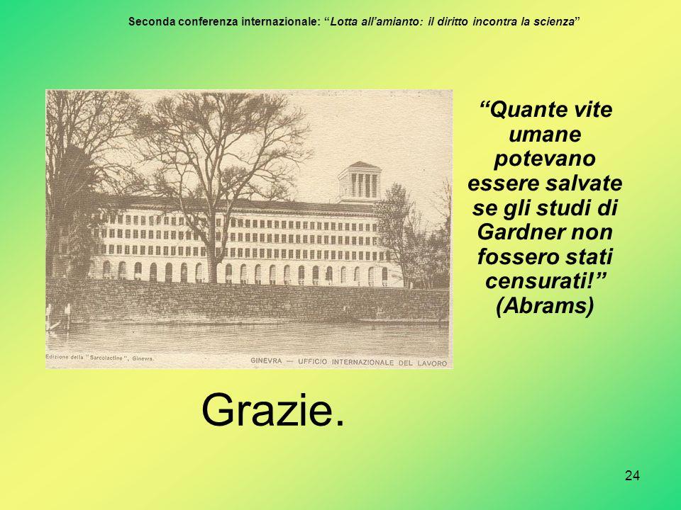 """24 """"Quante vite umane potevano essere salvate se gli studi di Gardner non fossero stati censurati!"""" (Abrams) Grazie. Seconda conferenza internazionale"""