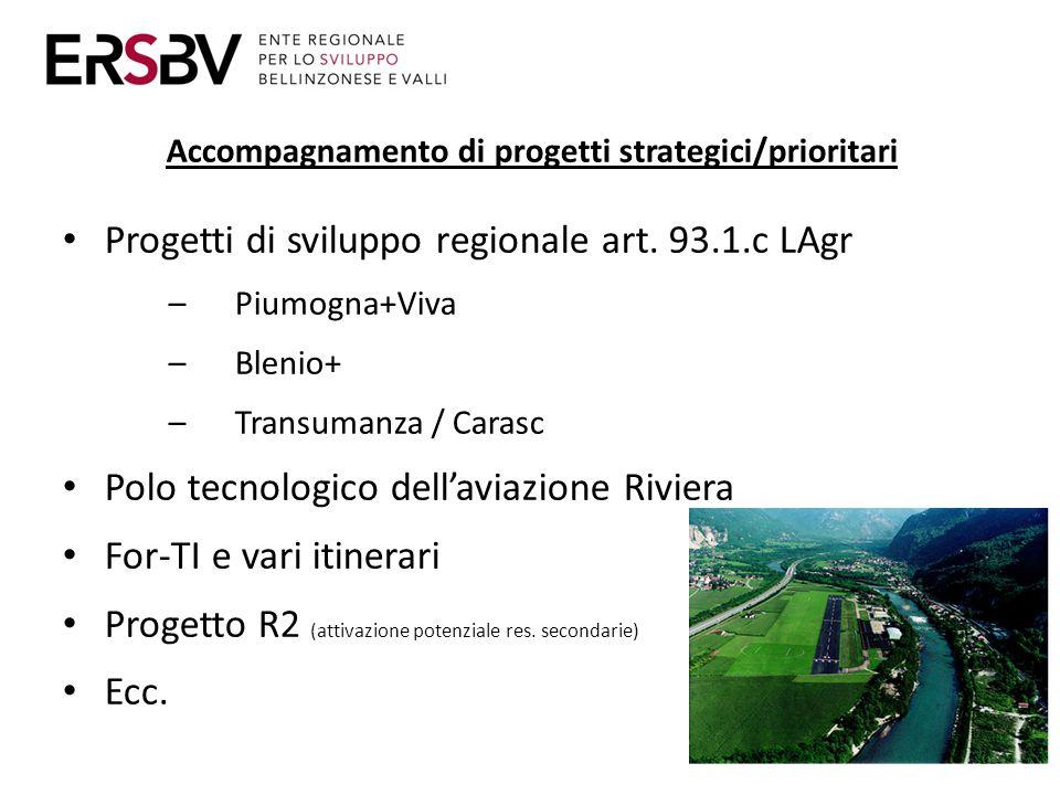 Accompagnamento di progetti strategici/prioritari Progetti di sviluppo regionale art.