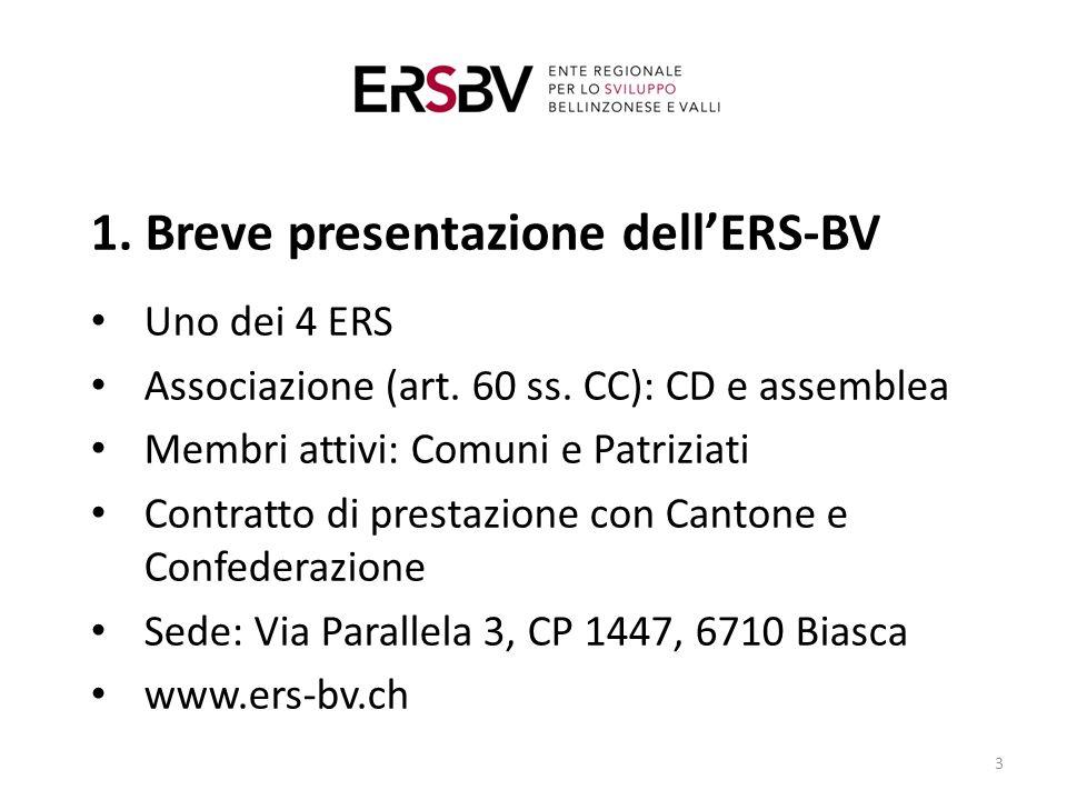 1. Breve presentazione dell'ERS-BV Uno dei 4 ERS Associazione (art.
