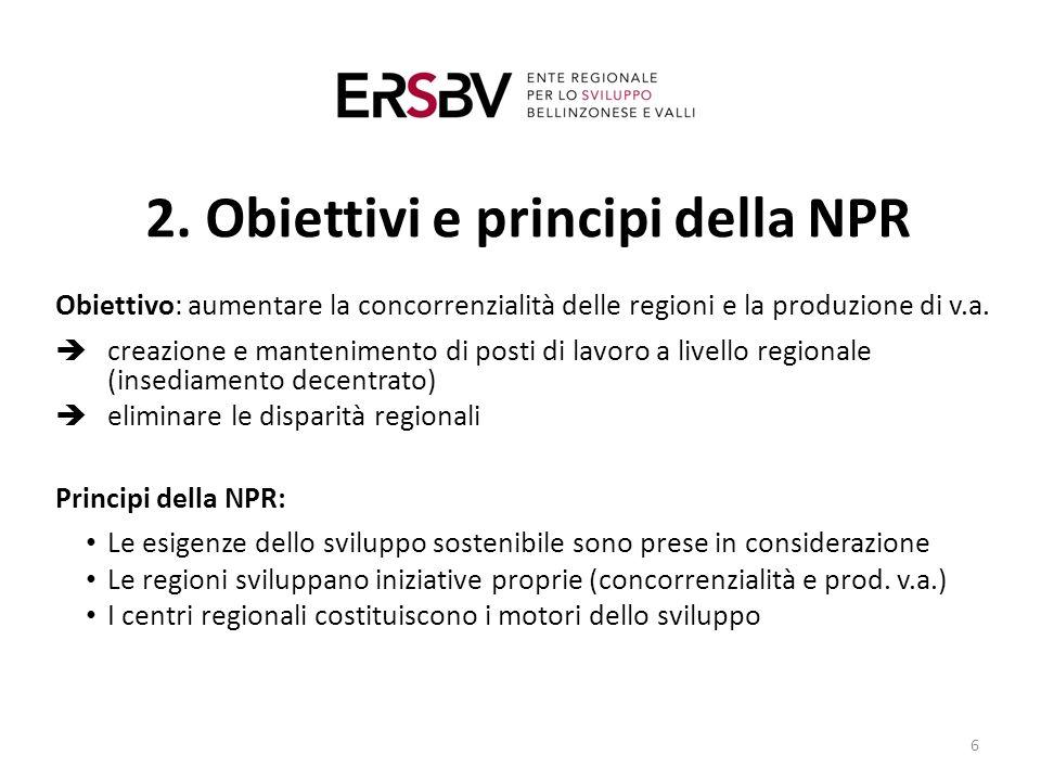 2. Obiettivi e principi della NPR Obiettivo: aumentare la concorrenzialità delle regioni e la produzione di v.a.  creazione e mantenimento di posti d