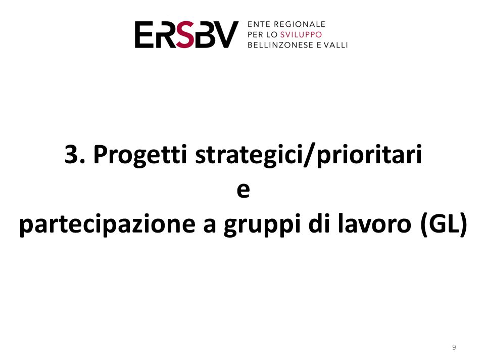 3. Progetti strategici/prioritari e partecipazione a gruppi di lavoro (GL) 9