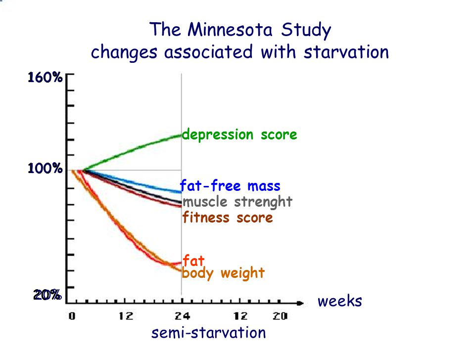 160% 100% 20% semi-starvation depression score fat fat-free mass fitness score muscle strenght body weight weeks The Minnesota Study changes associated with starvation 160% 100% 20%