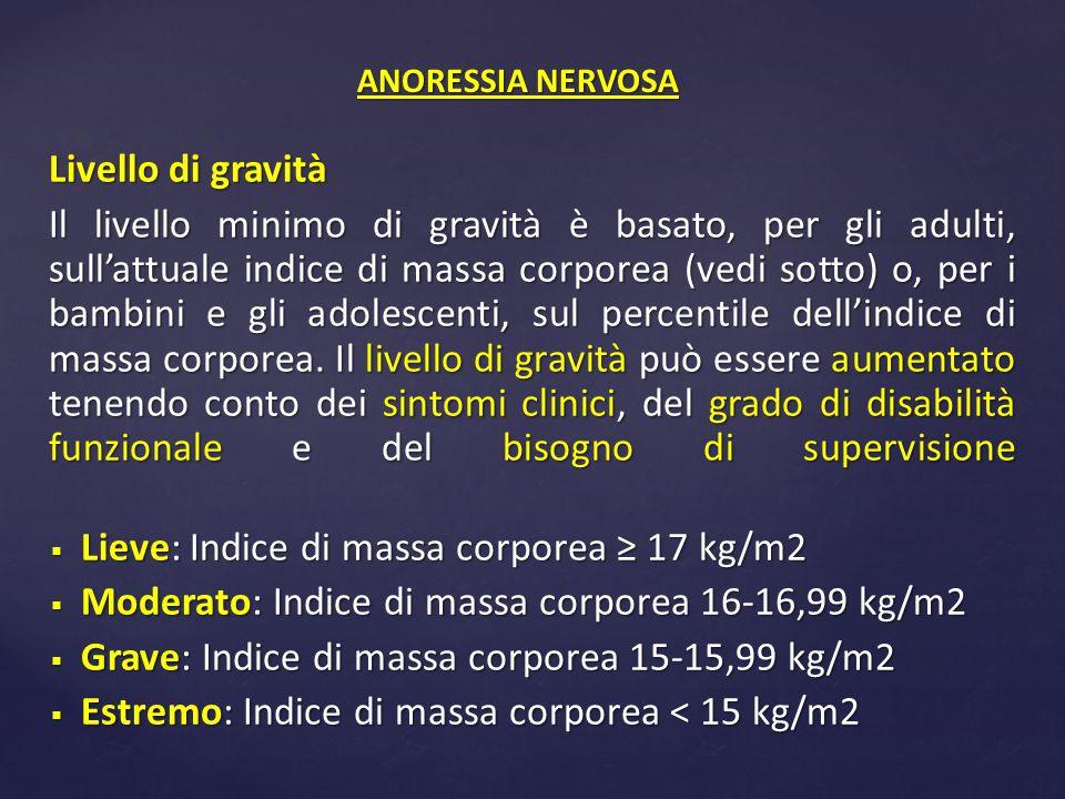 Livello di gravità Il livello minimo di gravità è basato, per gli adulti, sull'attuale indice di massa corporea (vedi sotto) o, per i bambini e gli