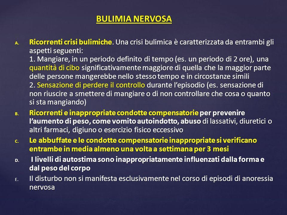 A. Ricorrenti crisi bulimiche. Una crisi bulimica è caratterizzata da entrambi gli aspetti seguenti: 1. Mangiare, in un periodo definito di tempo (es