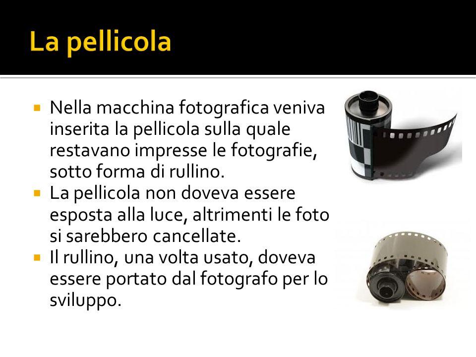  Nella macchina fotografica veniva inserita la pellicola sulla quale restavano impresse le fotografie, sotto forma di rullino.  La pellicola non dov
