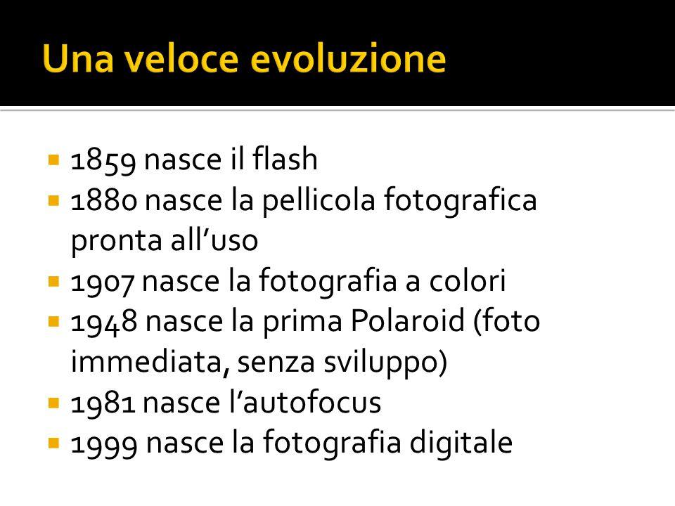  1859 nasce il flash  1880 nasce la pellicola fotografica pronta all'uso  1907 nasce la fotografia a colori  1948 nasce la prima Polaroid (foto im