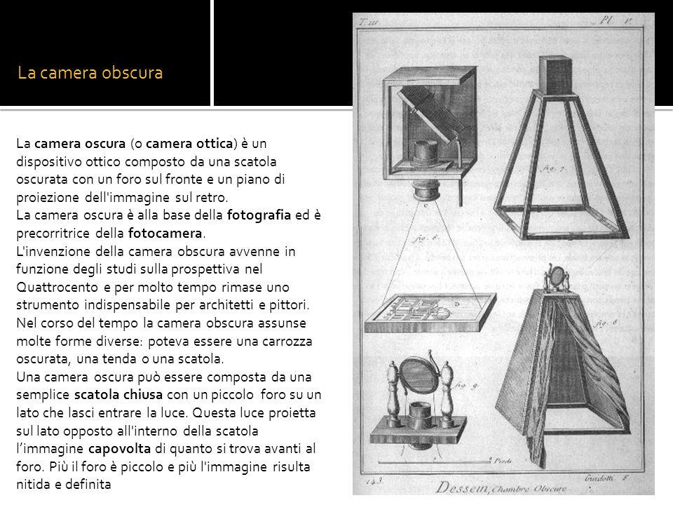 La camera obscura La camera oscura (o camera ottica) è un dispositivo ottico composto da una scatola oscurata con un foro sul fronte e un piano di pro