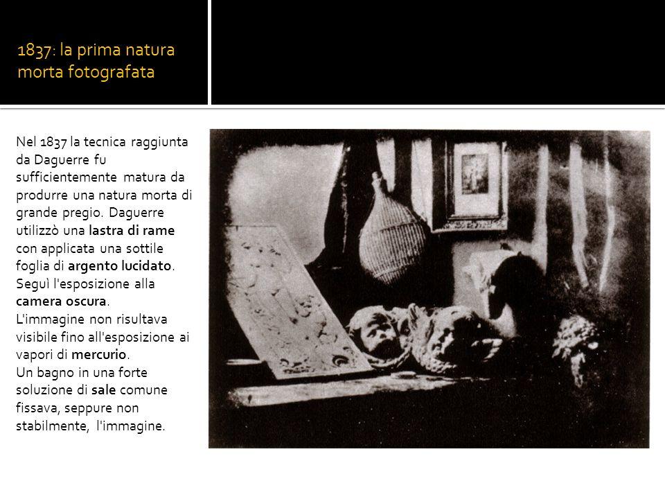 1837: la prima natura morta fotografata Nel 1837 la tecnica raggiunta da Daguerre fu sufficientemente matura da produrre una natura morta di grande pr
