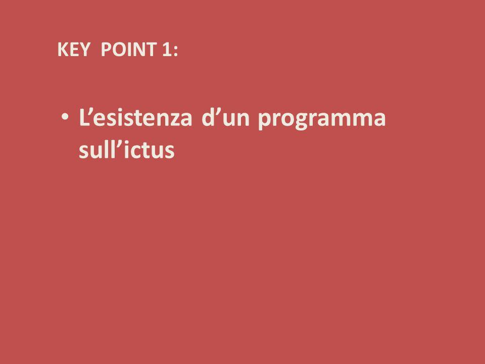 KEY POINT 1: L'esistenza d'un programma sull'ictus
