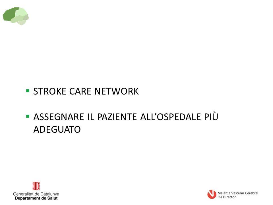  STROKE CARE NETWORK  ASSEGNARE IL PAZIENTE ALL'OSPEDALE PIÙ ADEGUATO