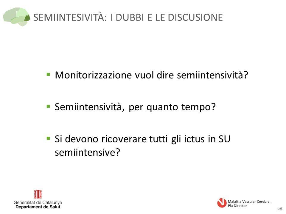 SEMIINTESIVITÀ: I DUBBI E LE DISCUSIONE 68  Monitorizzazione vuol dire semiintensività.
