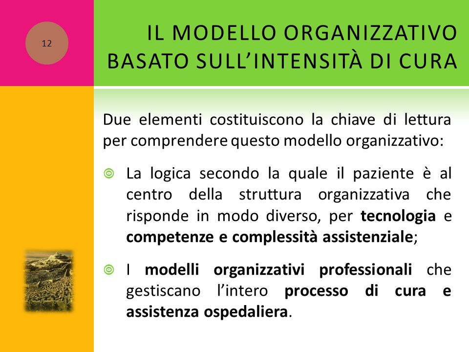 IL MODELLO ORGANIZZATIVO BASATO SULL'INTENSITÀ DI CURA Due elementi costituiscono la chiave di lettura per comprendere questo modello organizzativo: 