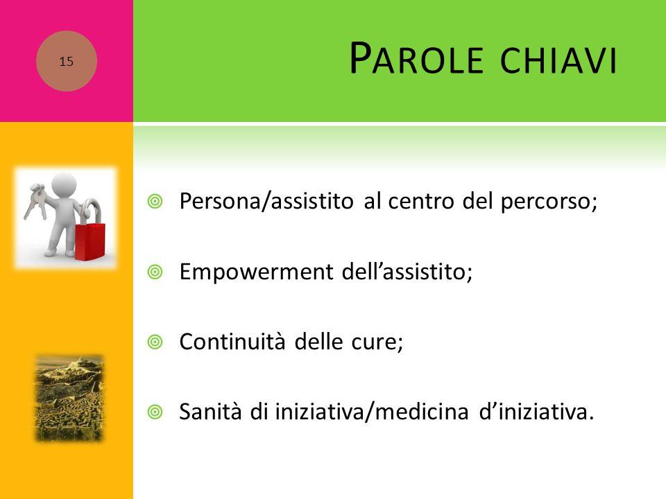  Persona/assistito al centro del percorso;  Empowerment dell'assistito;  Continuità delle cure;  Sanità di iniziativa/medicina d'iniziativa. P ARO