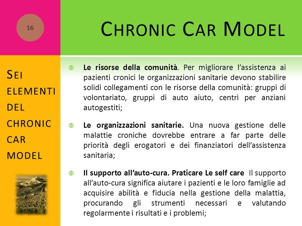 S EI ELEMENTI DEL CHRONIC CAR MODEL  Le risorse della comunità. Per migliorare l'assistenza ai pazienti cronici le organizzazioni sanitarie devono st