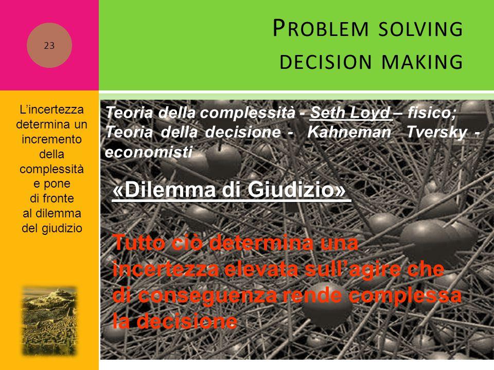 P ROBLEM SOLVING DECISION MAKING Teoria della complessità - Seth Loyd – fisico; Teoria della decisione - Kahneman Tversky - economisti «Dilemma di Giu