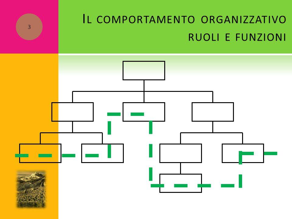 I L COMPORTAMENTO ORGANIZZATIVO RUOLI E FUNZIONI 3