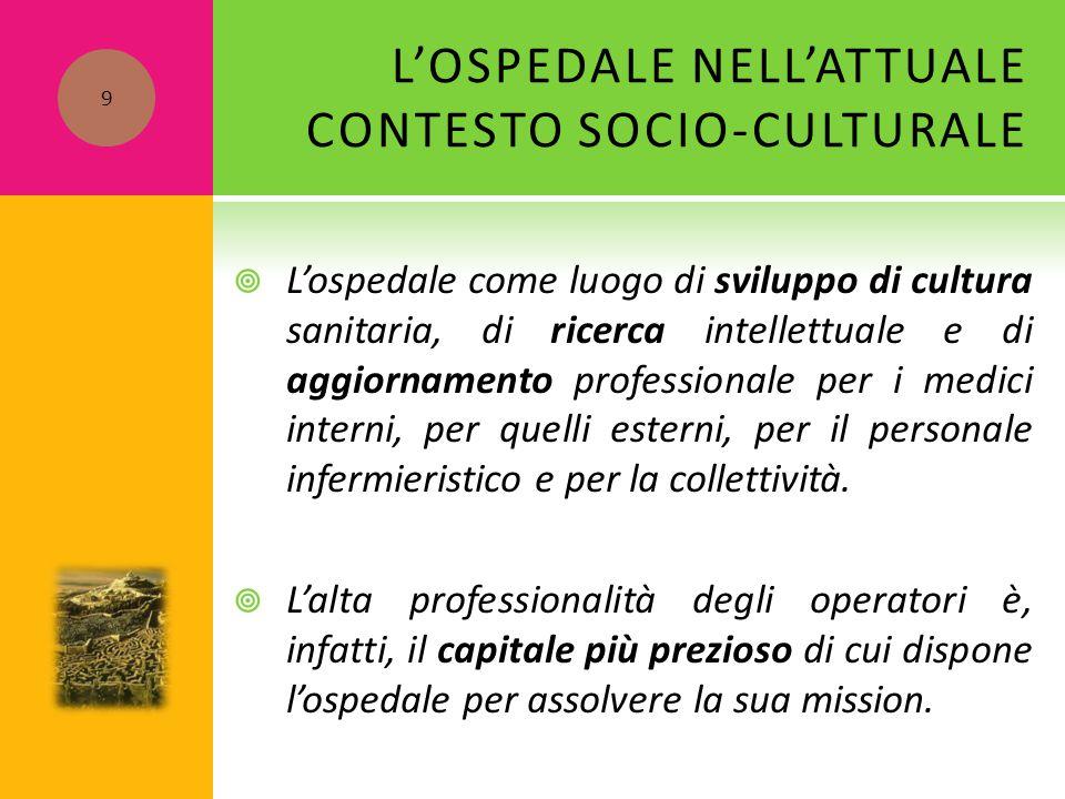 L'OSPEDALE NELL'ATTUALE CONTESTO SOCIO-CULTURALE  L'ospedale come luogo di sviluppo di cultura sanitaria, di ricerca intellettuale e di aggiornamento