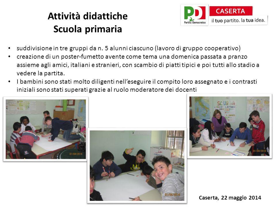 Caserta, 22 maggio 2014 Attività didattiche Scuola primaria suddivisione in tre gruppi da n.