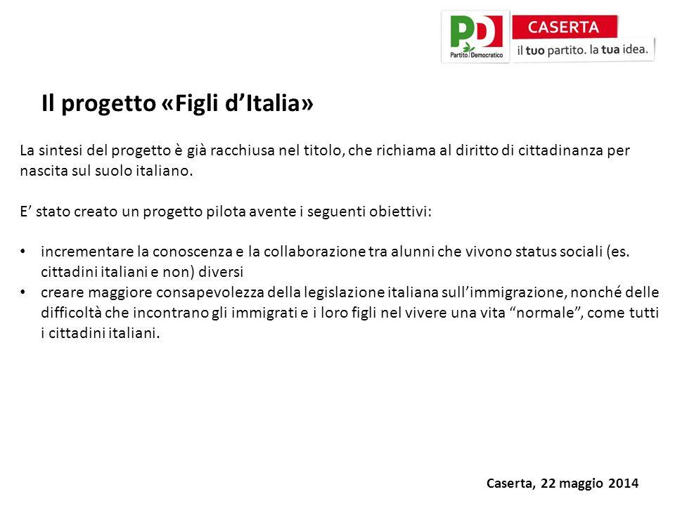 Caserta, 22 maggio 2014 Il progetto «Figli d'Italia» La sintesi del progetto è già racchiusa nel titolo, che richiama al diritto di cittadinanza per nascita sul suolo italiano.