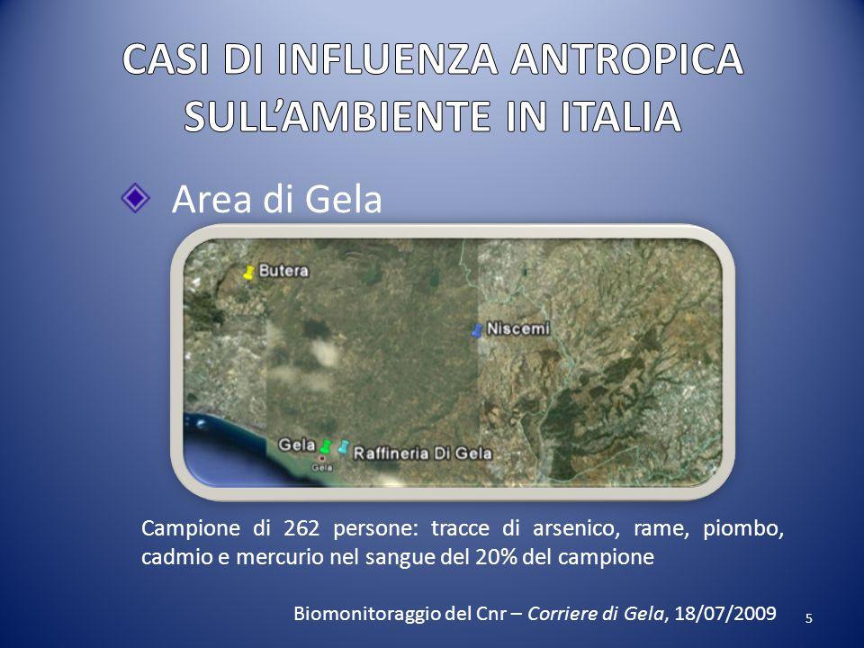 5 Area di Gela Campione di 262 persone: tracce di arsenico, rame, piombo, cadmio e mercurio nel sangue del 20% del campione Biomonitoraggio del Cnr –