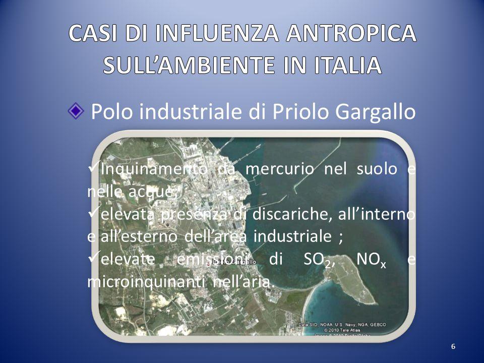 6 Polo industriale di Priolo Gargallo Inquinamento da mercurio nel suolo e nelle acque; elevata presenza di discariche, all'interno e all'esterno dell