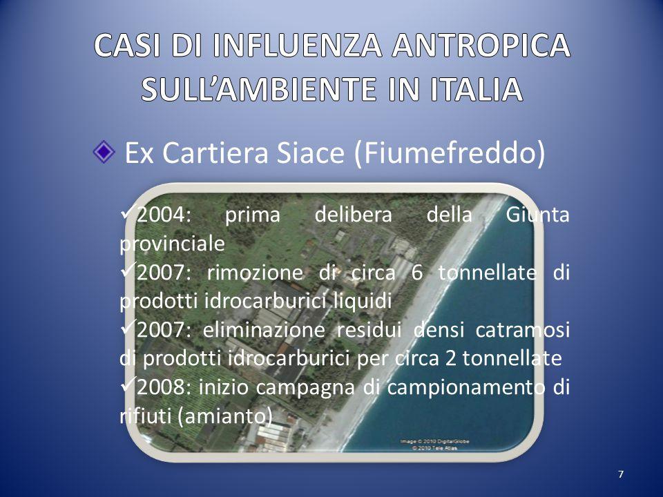 7 Ex Cartiera Siace (Fiumefreddo) 2004: prima delibera della Giunta provinciale 2007: rimozione di circa 6 tonnellate di prodotti idrocarburici liquid