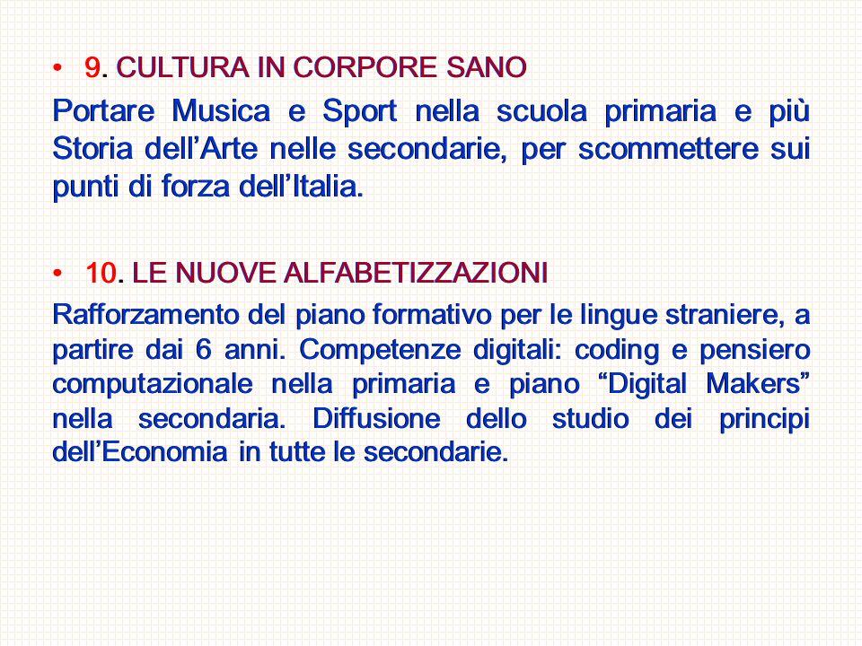 9. CULTURA IN CORPORE SANO Portare Musica e Sport nella scuola primaria e più Storia dell'Arte nelle secondarie, per scommettere sui punti di forza de