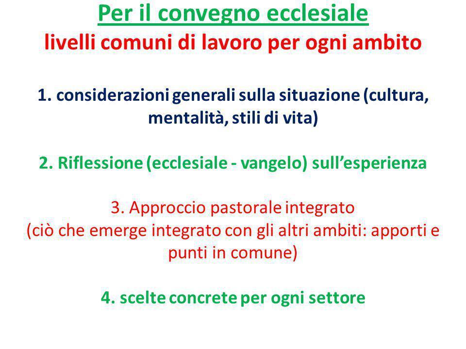 Per il convegno ecclesiale livelli comuni di lavoro per ogni ambito 1. considerazioni generali sulla situazione (cultura, mentalità, stili di vita) 2.
