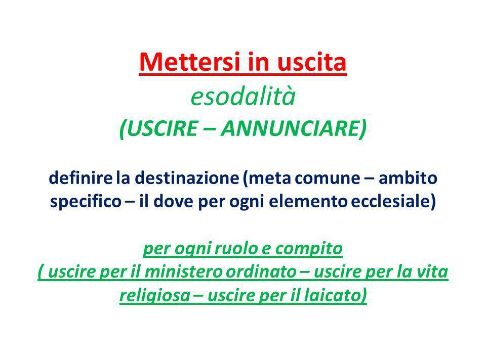 Mettersi in uscita esodalità (USCIRE – ANNUNCIARE) definire la destinazione (meta comune – ambito specifico – il dove per ogni elemento ecclesiale) pe