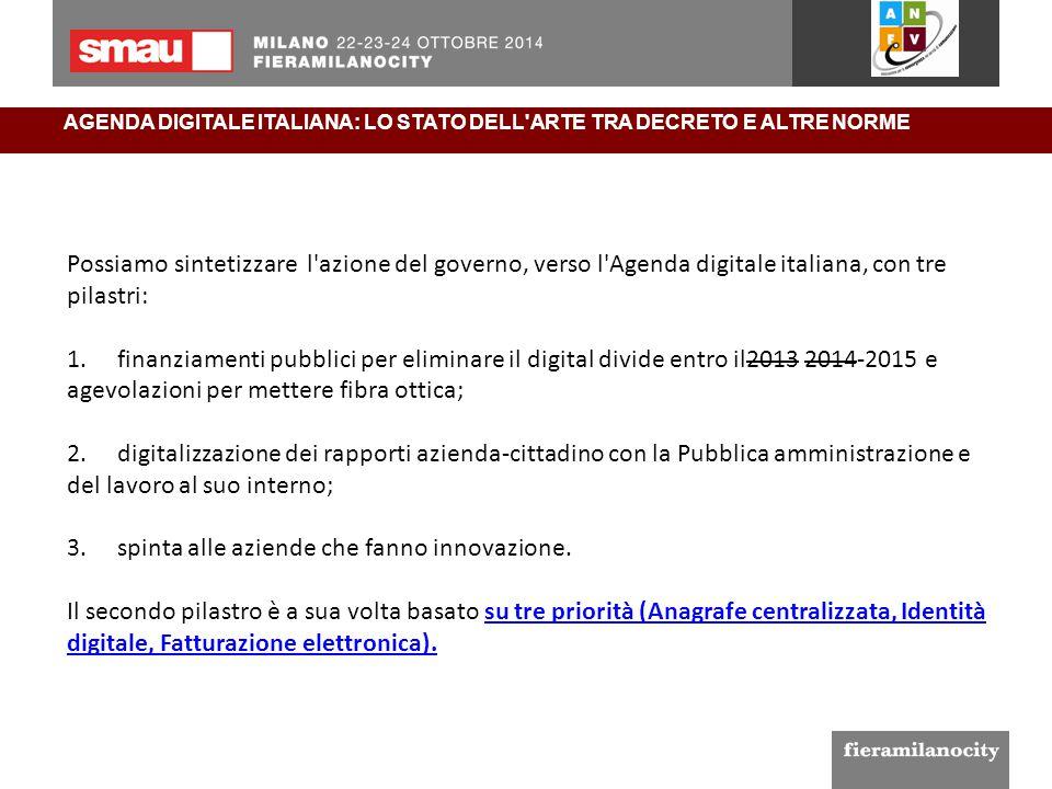 AGENDA DIGITALE ITALIANA: LO STATO DELL'ARTE TRA DECRETO E ALTRE NORME Possiamo sintetizzare l'azione del governo, verso l'Agenda digitale italiana, c