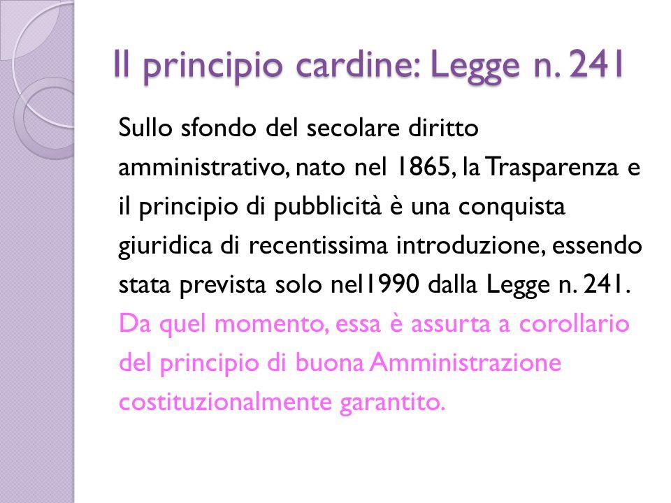Il principio cardine: Legge n.
