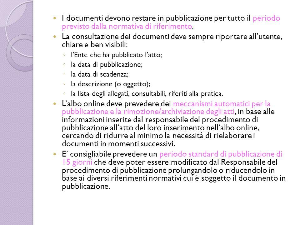 I documenti devono restare in pubblicazione per tutto il periodo previsto dalla normativa di riferimento. La consultazione dei documenti deve sempre r