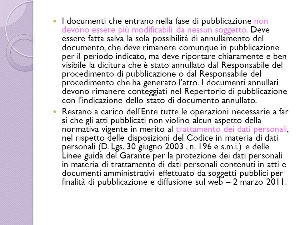 I documenti che entrano nella fase di pubblicazione non devono essere più modificabili da nessun soggetto. Deve essere fatta salva la sola possibilità