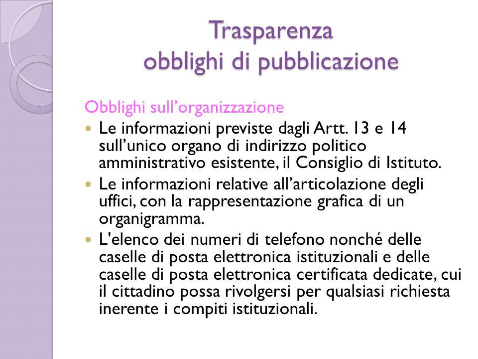 Trasparenza obblighi di pubblicazione Obblighi sull'organizzazione Le informazioni previste dagli Artt. 13 e 14 sull'unico organo di indirizzo politic
