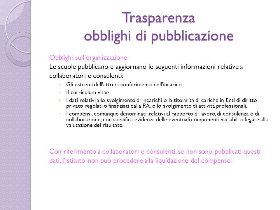 Trasparenza obblighi di pubblicazione Obblighi sull'organizzazione Le scuole pubblicano e aggiornano le seguenti informazioni relative a collaboratori