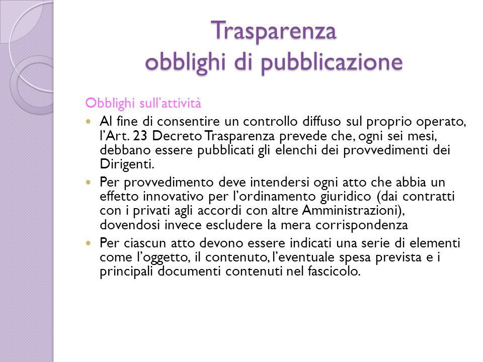 Trasparenza obblighi di pubblicazione Obblighi sull'attività Al fine di consentire un controllo diffuso sul proprio operato, l'Art. 23 Decreto Traspar