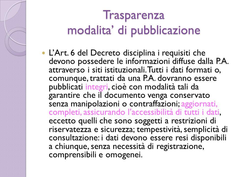 Trasparenza modalita' di pubblicazione L'Art. 6 del Decreto disciplina i requisiti che devono possedere le informazioni diffuse dalla P.A. attraverso