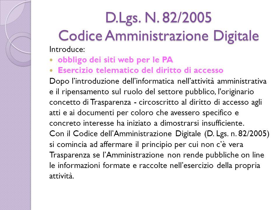 D.Lgs. N. 82/2005 Codice Amministrazione Digitale Introduce: obbligo dei siti web per le PA Esercizio telematico del diritto di accesso Dopo l'introdu
