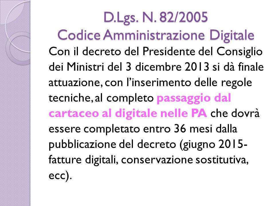D.Lgs. N. 82/2005 Codice Amministrazione Digitale Con il decreto del Presidente del Consiglio dei Ministri del 3 dicembre 2013 si dà finale attuazione