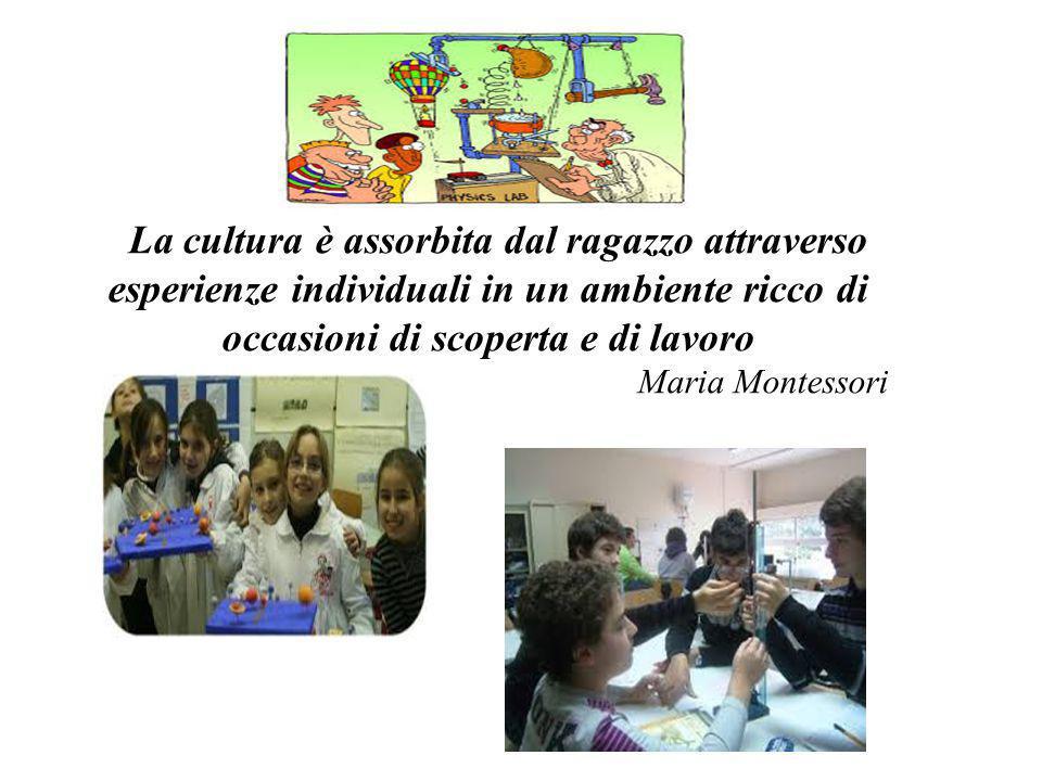 La cultura è assorbita dal ragazzo attraverso esperienze individuali in un ambiente ricco di occasioni di scoperta e di lavoro Maria Montessori