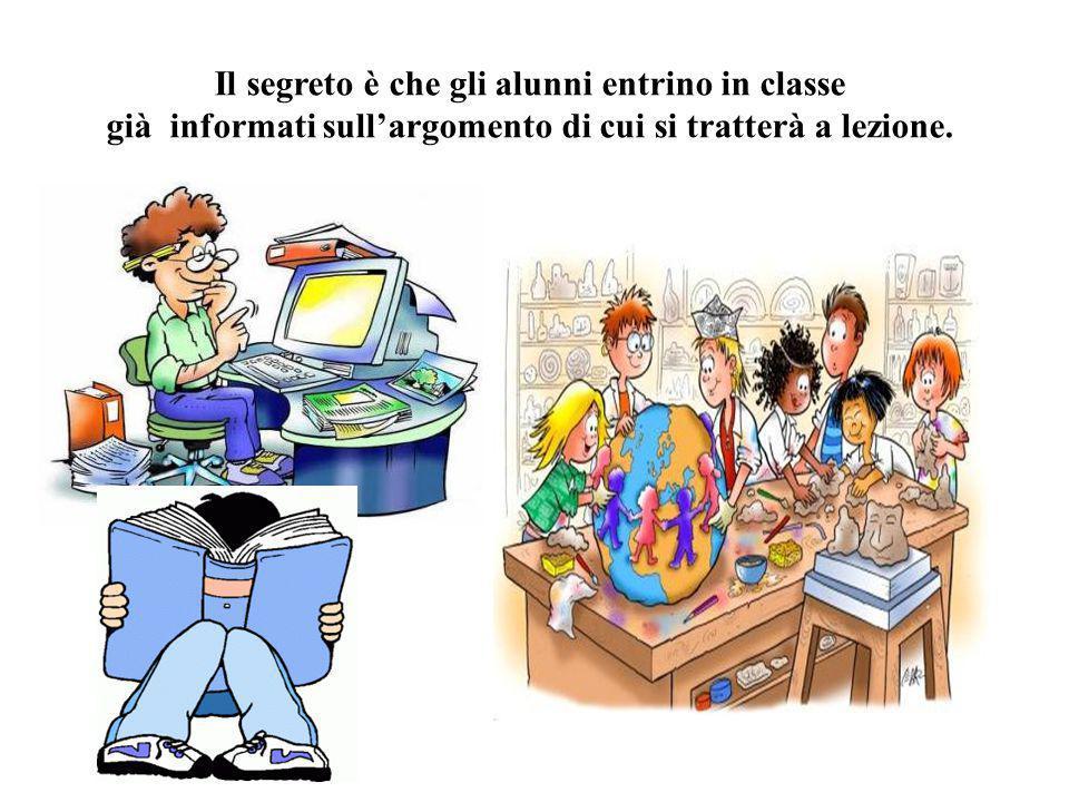 Il segreto è che gli alunni entrino in classe già informati sull'argomento di cui si tratterà a lezione.